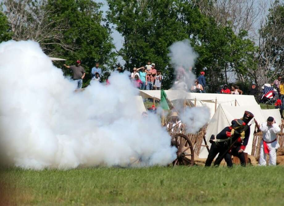 Cannon fire was a big hit with the crowd during the San Jacinto Day Festival and Battle Reenactment