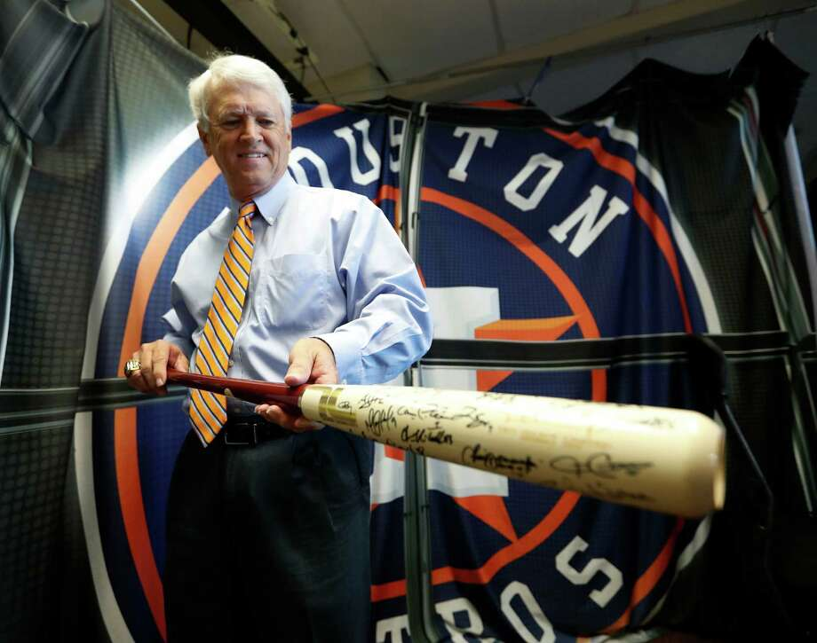 Astros broadcaster Bill Brown shows his bat  in the booth, which was  autographed and given to him by Houston Astros players before the start of an MLB game at Minute Maid Park, Wednesday, Sept. 28, 2016 in Houston. Photo: Karen Warren, Houston Chronicle / 2016 Houston Chronicle
