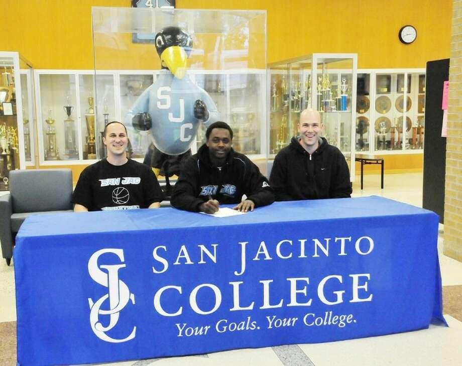 (From left to right) Scott Robert Gernander, San Jacinto College (SJC) men's basketball assistant coach; Flavien Davis, SJC men's basketball player; and Albert Talley, Jr., SJC men's basketball assistant coach. Photo: Jeannie Peng-Armao