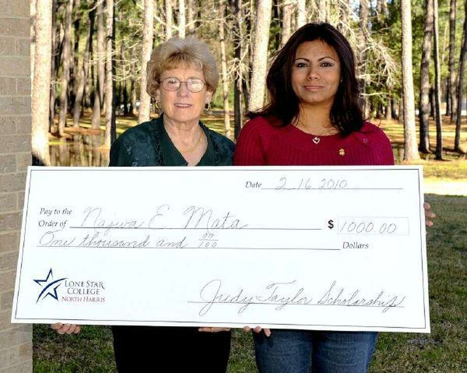 From left, Judy Taylor, LSC-North Harris, professor of math and Najwa Mata, LSC-North Harris student and recipient of the 2010 Judy Taylor Scholarship.