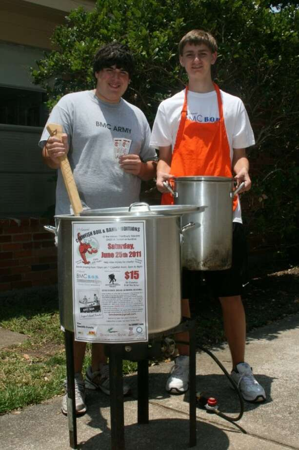 Bellaire High School incoming juniors have their first shot at chairing a charity event this weekend at the Bellaire Mens Club's inaugural Crawfish Boil. From left are event co-chair Michael Smith with BMC Battle of Bands co-chairman Alex Metzger. Photo: Submitted