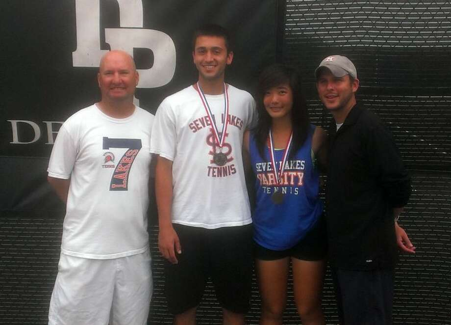 The Seven Lakes mixed doubles team of Ryan Heslop and Nancy Liu advanced to the Region III-5A final April 17 at Deer Park High School. The team advances to their first state tournament, celebrating the achievement with head coach Kevin McIlvain (left) and assistant coach Josh Martinez. Photo: Jack Marrion/HCN