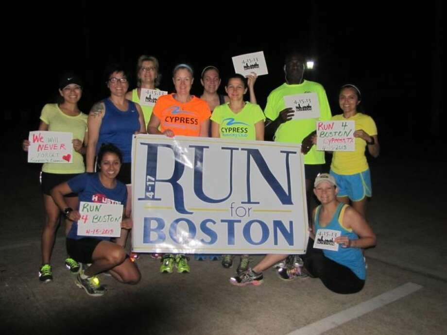 This photo posted this morning on the Cypress Running Club Facebook page shows members of the group gathered to run in support of Boston at Coles Crossing Community Center. The group ran this morning at 5:30 a.m. and will run again this evening at 6:30 p.m.
