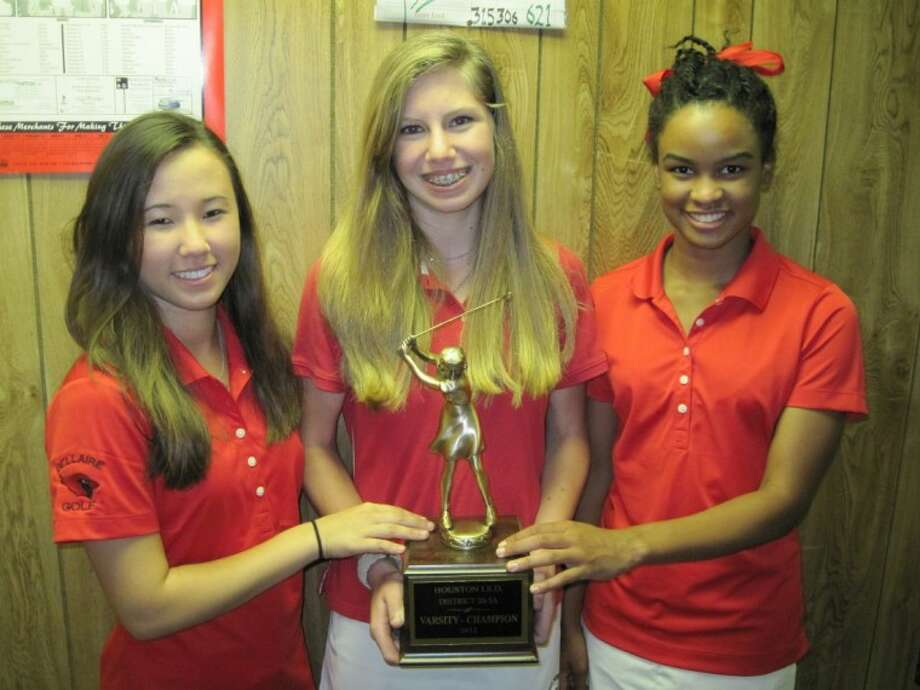 The Bellaire girls golf team of (from left) Bernice Leonard, Taylor Moser, Samantha Smith and Emily Gilbreth (not pictured) qualified for the Class 5A state golf tournament. Photo: Jack Marrion