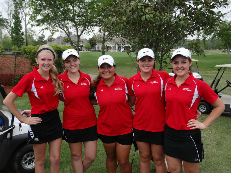 The Cypress Woods High School girls' golf team celebrates a successful season after placing eighth at the Region III-5A Golf Tournament April 15-16 in Mont Belvieu. Pictured, from left, are junior Julia Davenport, junior Carly Stephenson, senior Arabella Cruz, freshman Kaley Martin and senior Leanne Haynes.