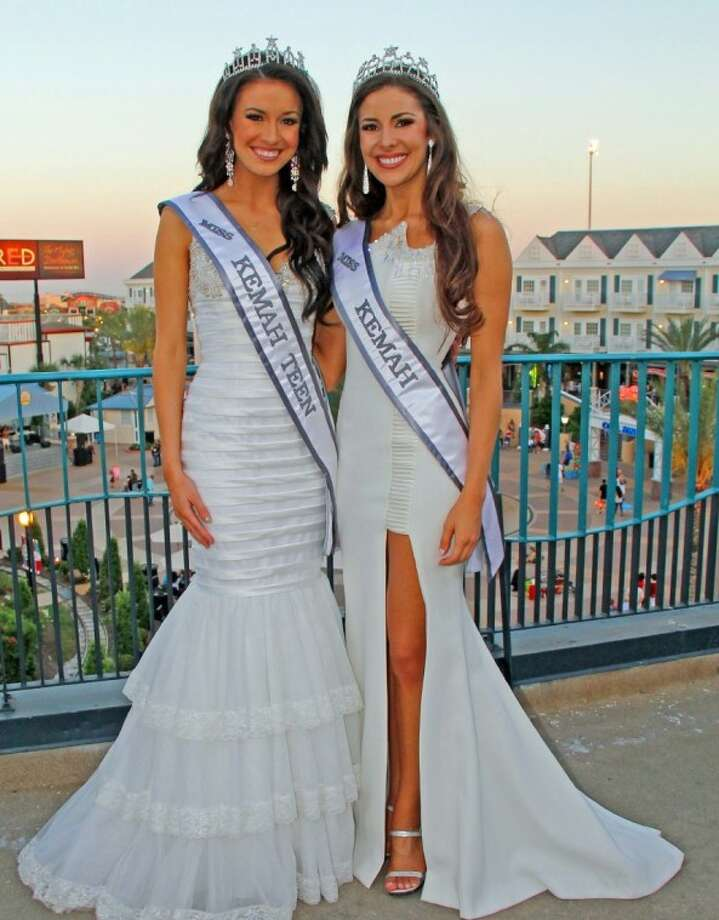 Miss Kemah Erin Kay, right, and Miss Kemah Teen Tiffany Faul pose for a picture on the Kemah Boardwalk.