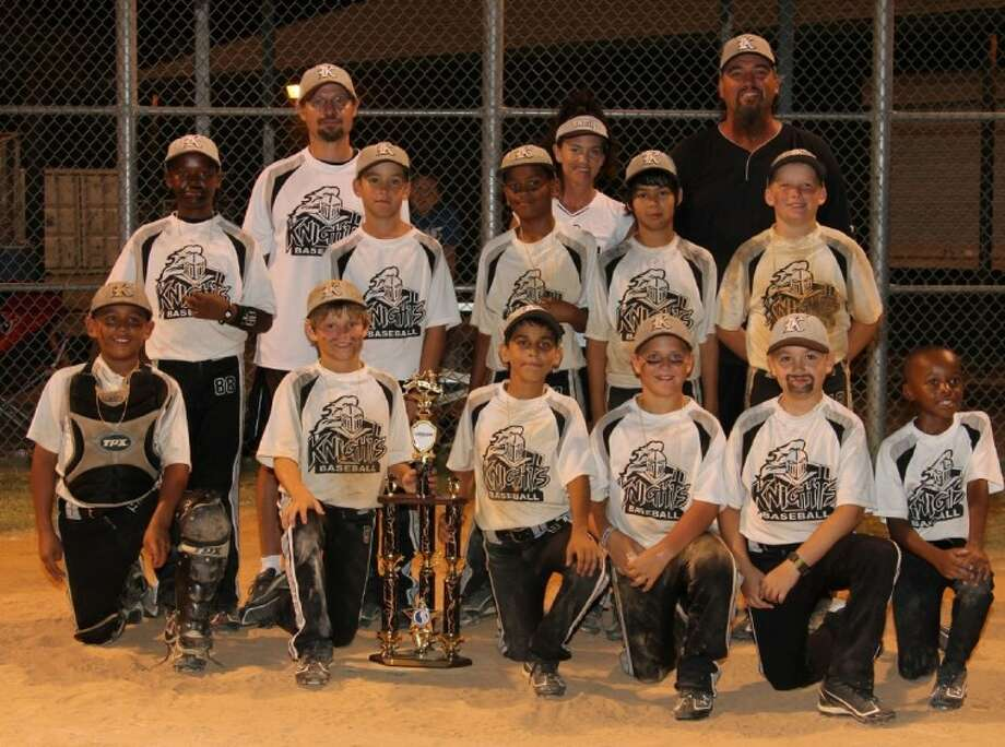 The 10U Texas Knights won the USSSA Texas state championship June 19 in Pasadena. On the front row, from left, are Max Ybarra, Tyler Scataglia, Andrew Prado, Brandon Hicks, Cole Garcia and Jayden Duplantier. Standing, from left, are Dre Duplantier, Chase Pena, Armani Sanchez, Vic Hernandez and Hunter Draper. The coaches are Tony Scataglia, Lovie Garcia and head coach Charlie Garcia. Not shown is Cole Himmer.