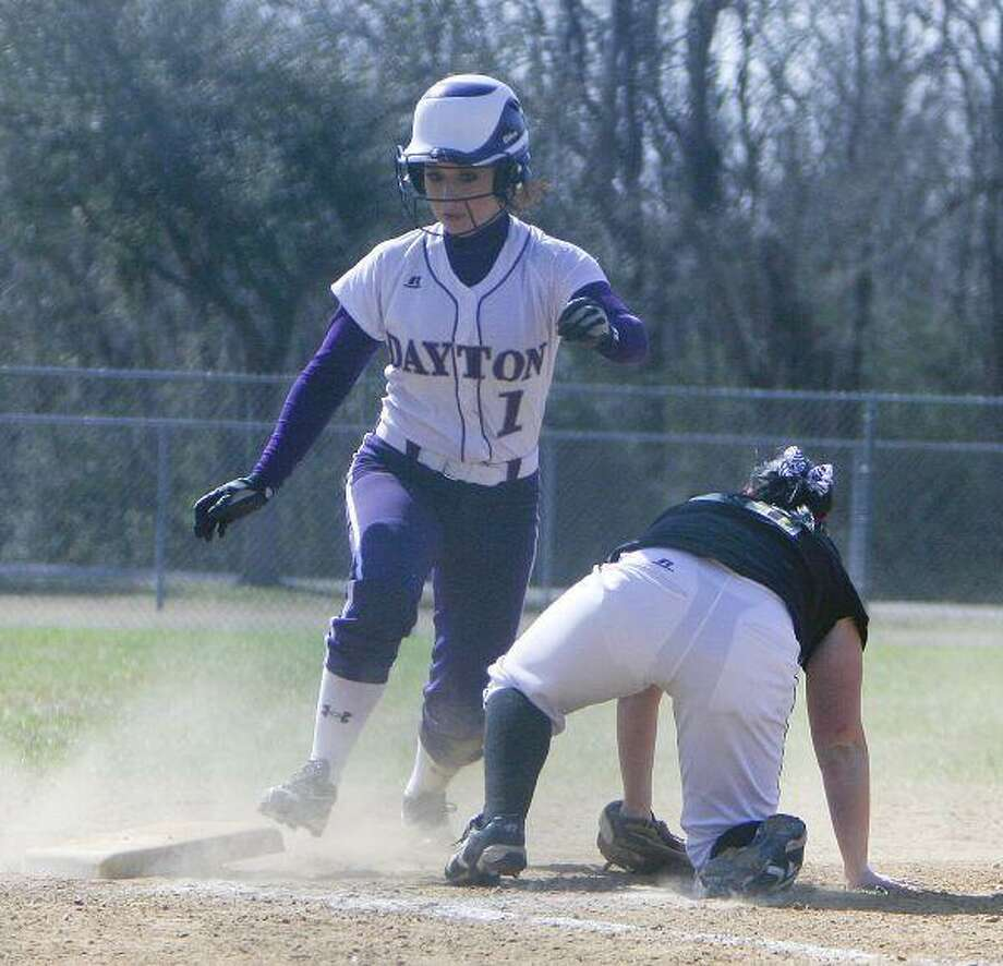 Marrisa Gaskamp rounds third base on her way to home after a fielding error by Dani Sicotte during the ball during the game against Orangefield on Thursday, March 4, at the Liberty softball tournament.