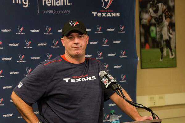 Houston Texans head coach Bill O'Brien listens to questions during a news conference following practice at NRG Stadium on Wednesday, Sept. 28, 2016, in Houston.