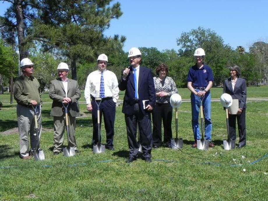 Pictured, left to right, are Bob Randall, Architect; Mike Bricker, General Contractor; Mike Smith, School Committee Chairman; Freddie Cullins, Administrator; Melissa Fuqua, High School Principal; Jim Kennedy, Parent and Contractor; Toni Randall, Mayor of League City. All were on hand for Bay Area Christian School's recent groundbreaking ceremony.