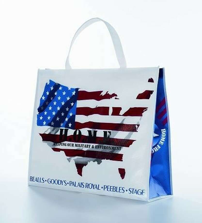 "Palais Royal stores are offering patriotic-themed shopping tote bag for $5. All of the proceeds benefit Operation Homefront, a national nonprofit organization that provides military families with numerous forms of emergency assistance. Every shopping tote comes with a $5 ""bounce back reward"" that is redeemable on any $25 purchase. Photo: Submitted Photo"