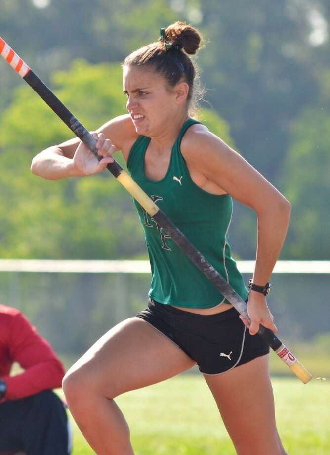 Kingwood Park's Pam Murfin won the girls pole vault in a runaway at the District 18-4A Championships. She was the only athlete to clear 10 feet.  Photo: Photo By Stephen Whitfield