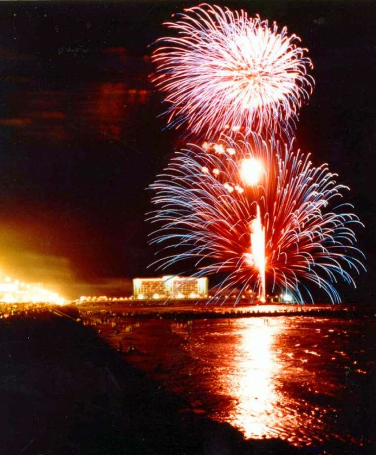 Galveston hosts fireworks over the Gulf of Mexico on July 4 to cap a long weekend of events on the island.