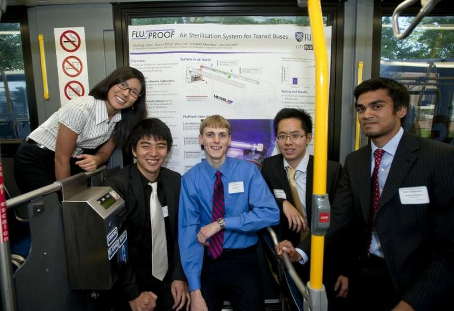 Rice University students have designed a system that uses ultraviolet light to clear the air on city buses of pathogens that cause illness. From left: Grace Ching, Jerry Lue, Joseph Spinella, Shidong Chen and Sundeep Mandava. Photo: TOMMY LAVERGNE