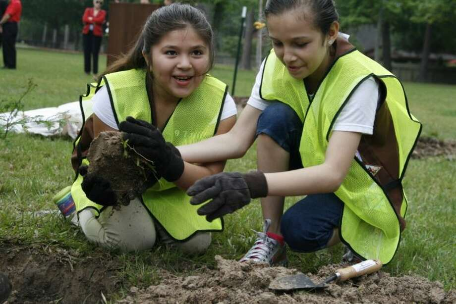 Deerwood Elementary students and brownies Breisis Torres and Ana Lopez fill the hole where they just placed a bald cypress tree with dirt outside of their school April 16.