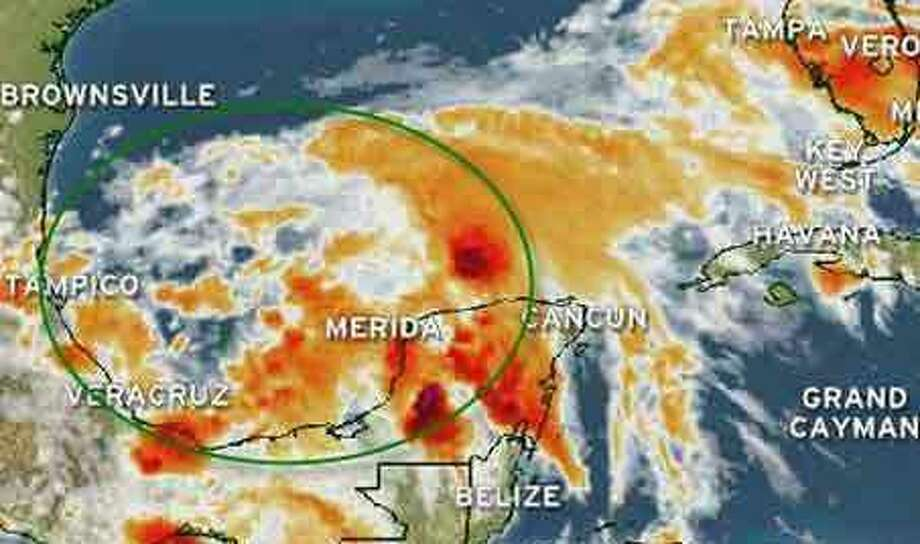 Arlene over the Yucatan Peninsula and the southern Gulf of Mexico Tuesday afternoon.