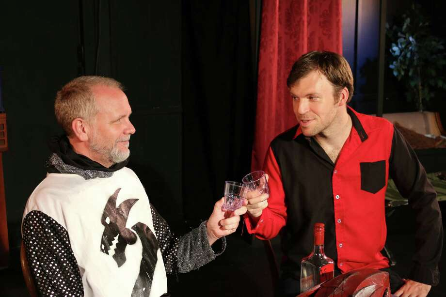 """Chrysalis,"" the fourth episode of the final season of ""Queen's Castle"" at the Overtime Theater, stars Andrew Thornton (from left) and Michael Burger. Photo: Courtesy Scott McDowell"