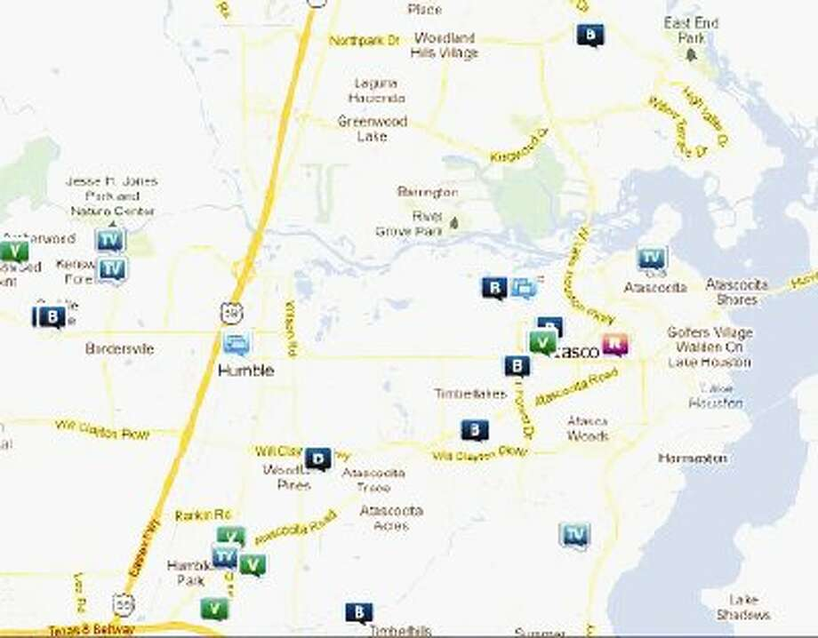 Snapshot of law enforcement activity in unincorporated Humble April 20-26. Legend: R - Robbery; B - Burglary; V - Stolen vehicle; TV - Theft from vehicle (BMV)