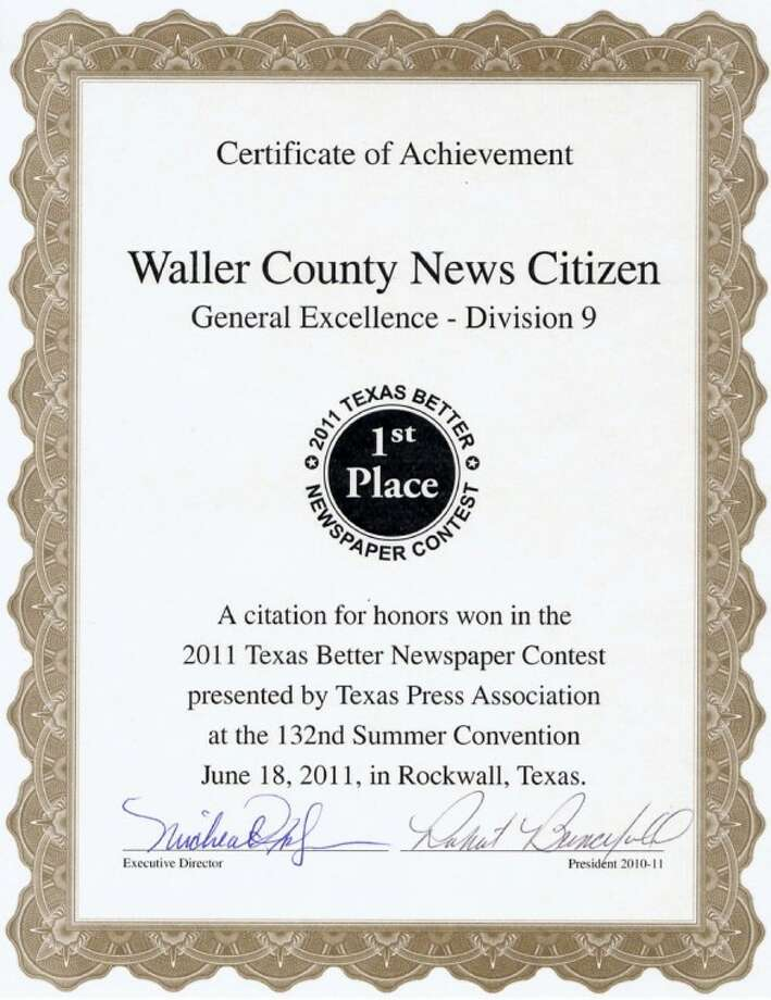 The first place award for General Excellence for small to midsized weekly newspapers was awarded to the Waller County News Citizen during the Texas Press Association's 132nd Summer Convention, held June 18 in Rockwall. The newspaper won eight awards in the TPA's Better Newspaper Contest.