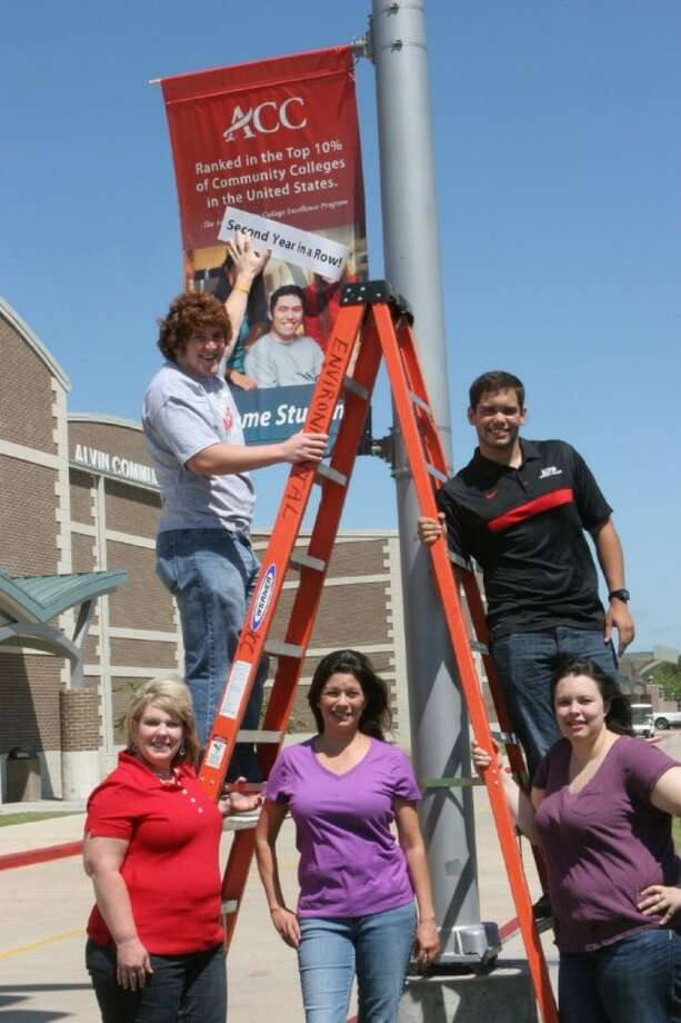ACC students have posted signs on campus banners to spread the word about ACC's recent honor by the Aspen Institute. Students are, from left, top, Brady Hudson, Grant Stanton. From left, bottom Angel Garcia, Eva Guerra and Nichole Rogers. Photo: ACC