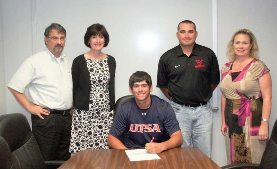 Clear Brook High School senior pitcher/first baseman Nolan Trabanino (seated) will continue his education and playing career at the University of Texas-San Antonio after signing a letter of intent. Those with Trabanino at the signing included (standing) Robert Trabanino (father), Debbie Trabanino (mother), Gene Flores (Brook head varsity baseball coach) and Michele Staley (Brook principal). Photo: SUBMITTED PHOTO