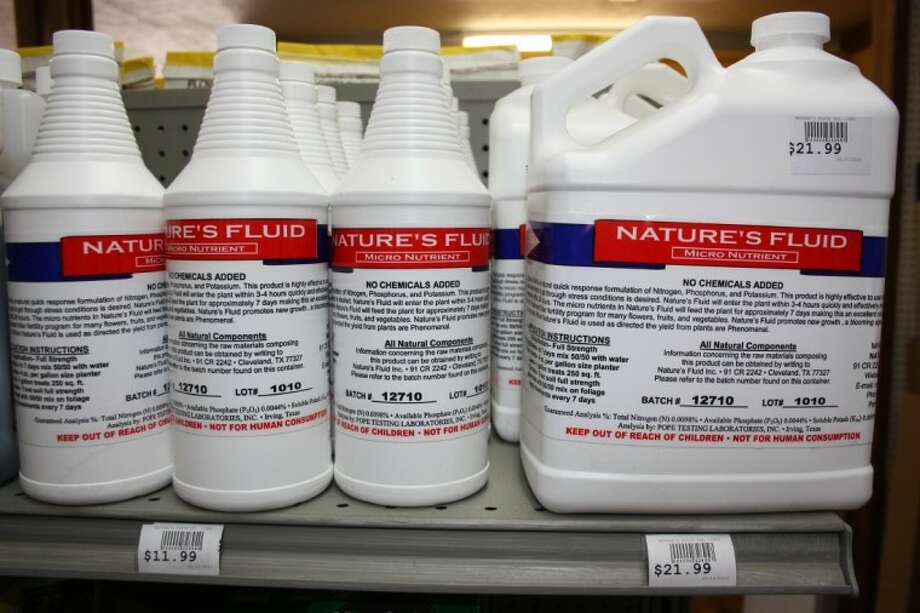 Nature's Fluid is locally made and offers a chemical-free method of improving flower and vegetable gardens. It is available at Circle H General Store. Photo: MELECIO FRANCO