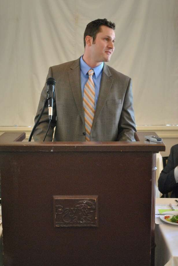 Houston Aeros sales director Josh Young spoke at the monthly Clear Lake Area Chamber of Commerce luncheon at the Bay Oaks Country Club Wednesday, April 25.