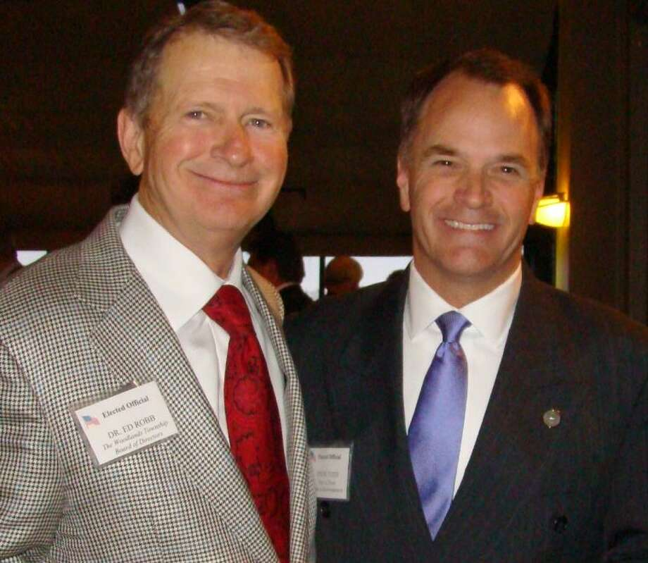 Dr. Ed Robb, left, board member with The Woodlands Township, and state Rep. Steve Toth, with the Texas House of Representatives, attended the EDP Elected Officials Reception.