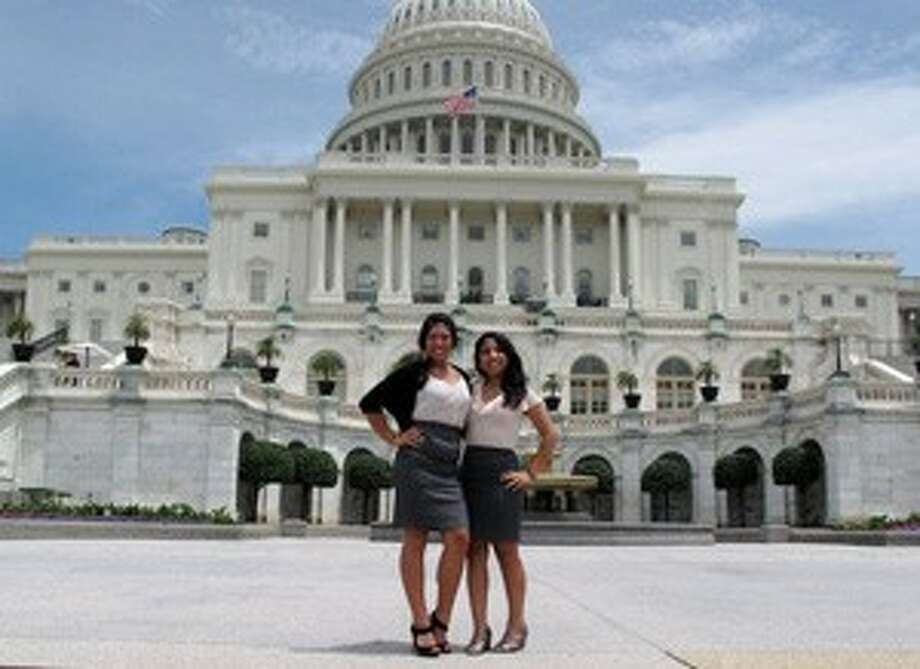 "(L-R) Fellow Diverse Scholar Tiffany Tran and Laura Cairampoma pose in front of the United States Capitol Building. Cairampoma, a graduate of Langham Creek High School, travelled to Washington, D.C. on June 21 for the ""Young Minds, Bright Futures,"" forum. The event joined scholarship winners and health professionals in a dialogue about the health care field. (submitted photo)"