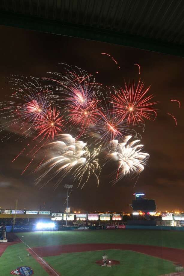 Fireworks fill the sky at the end of the Skeeters Opener against York Revolution at Constellation Field in Sugar Land. (Photo by Alan Warren) Photo: Photo By Alan Warren