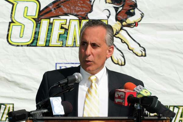Times Union Photo by James Goolsby-Sept. 16, 2008-Siena College Athletic Director, John D'argenio. Speaks during press conference.