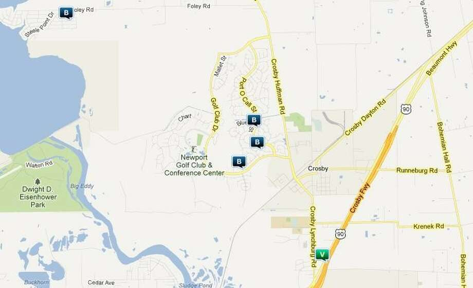 Law enforcement activity in the Crosby area April 5-11. Legend: B - burglary; V - stolen vehicle