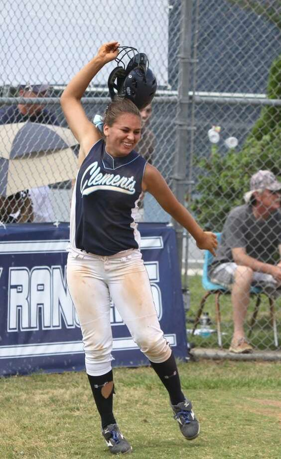 Clements' Darby Rosen throws off her helmet after scoring the winning run in the bottom of the 12th inning to defeat Clear Brook Saturday afternoon. Clements won the game, 3-2, and swept the playoff series.(Photo by Alan Warren) Photo: Photo By Alan Warren
