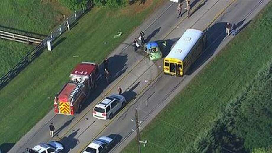SkyEye 13 HD was over the scene of a fatal accident involving a school bus in Fort Bend County. Photo courtesy of KTRK ABC Channel 13 News.