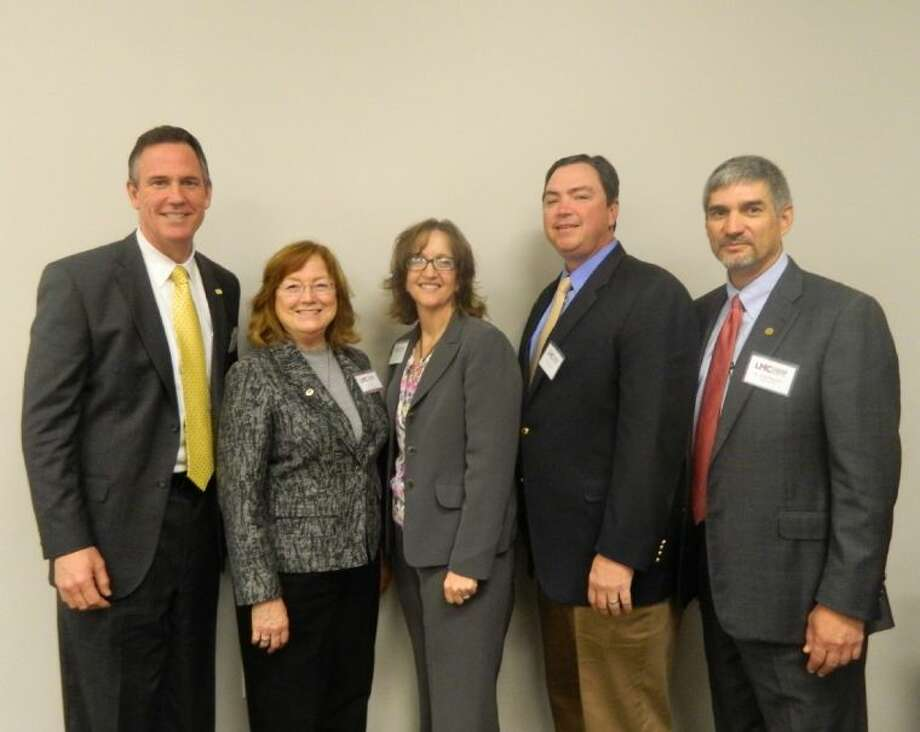 Superintends spoke during a panel discussion at the Leadership Montgomery County Education Session. Pictured (left to right) are: Dr. Don Stockton, Conroe ISD; Dr. Gail Evans, session director; Dr. Genese Bell, Splendora ISD; Dr. Beau Rees, Montgomery ISD; and Dr. Todd Stephens, Magnolia ISD.