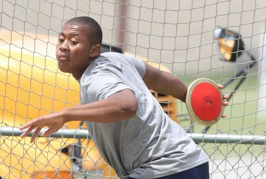 College Park junior Tristen Newman swept the discus (168 feet, 10 inches) and the shot put (60-8) in the District 14-5A Track and Field Championships on Tuesday in College Station. To view or purchase this photo and others like it, visit HCNpics.com.