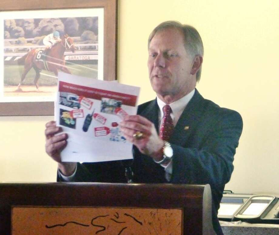 Ed Shackelford with Friends of Cypress Creek EMS announced at proposal to raise ESD #11's property tax cap at Houston Northwest Chamber of Commerce's April Membership Luncheon at Sam Houston Race Park Thursday.