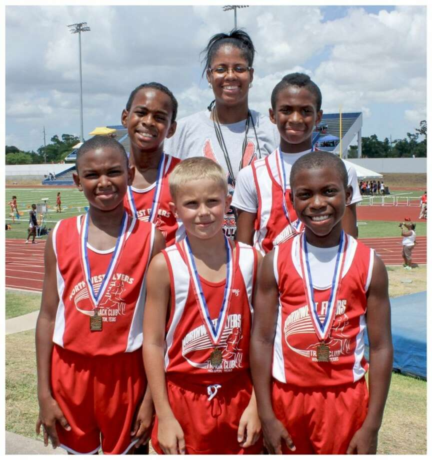The Northwest Flyers Bantam boys (ages 9-10) relay teams are competing in the regional meet this week at UT Arlington.