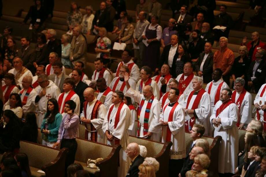 The Rev. Clark Lowenfield, of HopePointe Anglican Church, was consecrated as the first bishop of the Anglican Diocese of the Western Gulf Coast Saturday at The Woodlands United Methodist Church.