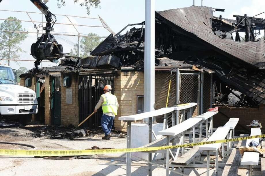 Fire consumed the press box building adjacent to baseball fields at Strawberry Park in Pasadena ,Wednesday July, 6.