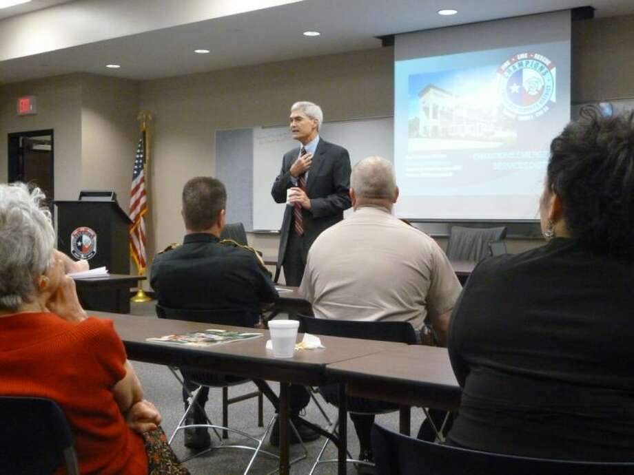 District Attorney Mike Anderson speaks to Houston Northwest Chamber meetings during a Public Safety Committee meeting.