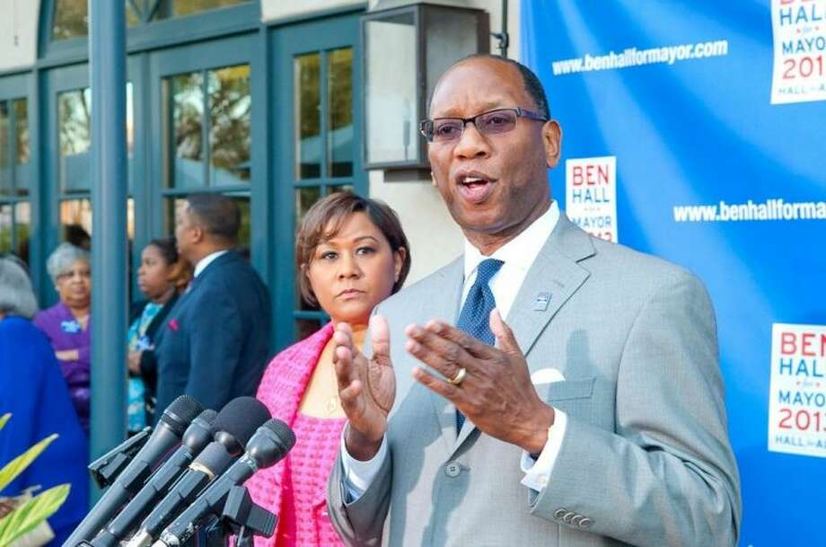 Ben Hall has officially announced his candidacy for mayor of Houston before an overflow crowd of supporters.