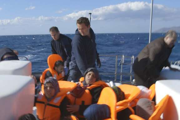"""Flooded Cal student Daphne Matziaraki's Student Academy Award-winning """"4.1 Miles"""" takes viewers on a coast guard boat off a Greek island as its overwhelmed crew tries to cope with the endless flood of refugees pouring in from Turkey. Photo courtesy Daphne Matziaraki."""