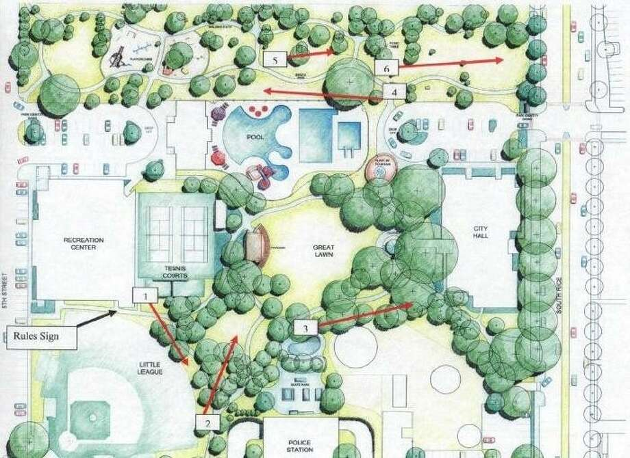 The red lines indicate the holes for the proposed six-hole disc golf course in Bellaire Town Square. Photo: CITY OF BELLAIRE