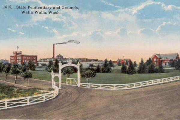 This postcard shows the Walla Walla State Penitentiary grounds, sometime before 1940. Image: Penny Postcards.