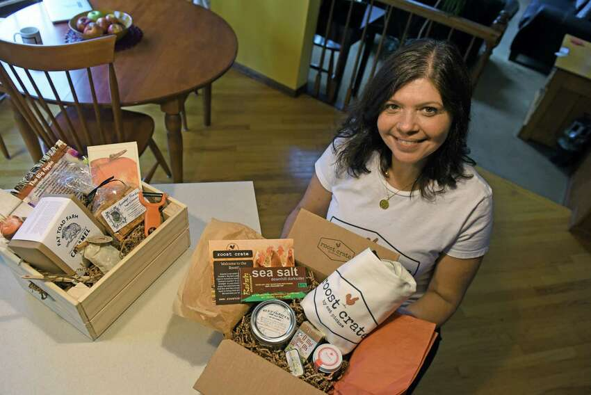 Kelly Pugliano with her Roost Crate at her home on Thursday Aug. 25, 2016 in Waterford, N.Y. (Michael P. Farrell/Times Union)