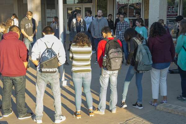 Lee High students gather Wednesday 09-26-16 in front of the school for the annual See You at the Pole student led prayer. Tim Fischer/Reporter-Telegram