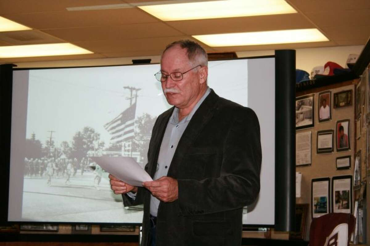 Ronnie Danner spoke about the history of Dairy Day at a Cleveland Historical Society meeting on Thursday, March 28.