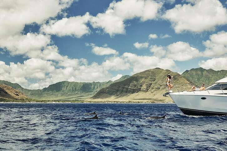 Touring  Oahu�s Ko Olina coastline escorted by spinner dolphins.  Credit: Four Seasons Resort Oahu