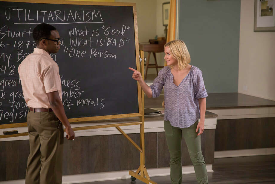 "On NBC's ""The Good Place,"" Chidi the philosophy professor (William Jackson Harper) tries to teach philosophy to Eleanor (Kristen Bell). Photo: NBC, Ron Batzdorff/NBC / 2016 NBCUniversal Media, LLC"